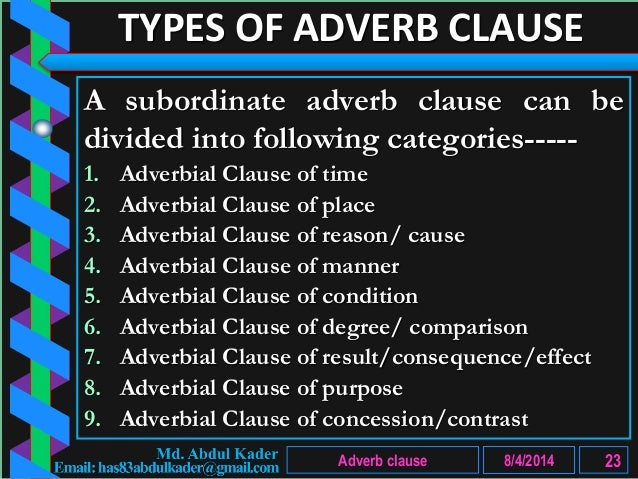adverbial clause of comparison Adverbial clauses of comparison denote an action with which the action of the principal clause is compared they are introduced by the conjunctions that, as, as as.