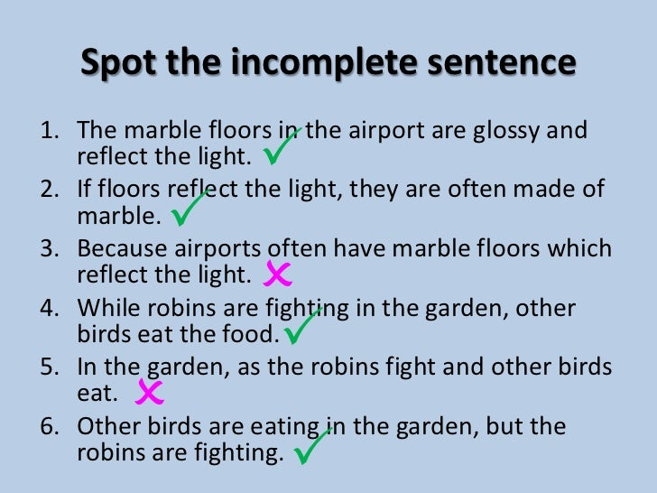 The main and subordinate clause for Sentence of floor