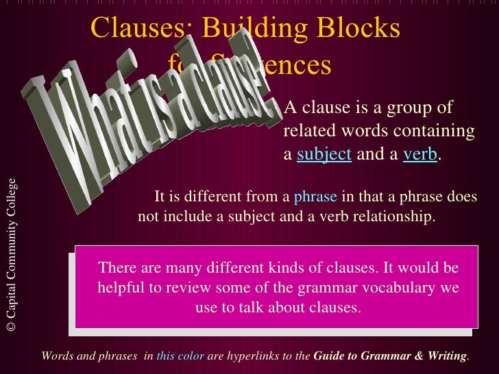 Clauses: Building Blocks  for Sentences What is a clause? A clause is a group of related words containing a  subject  and ...