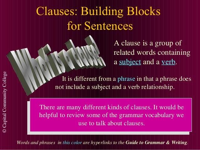 Clauses: Building Blocks                                             for Sentences                                        ...