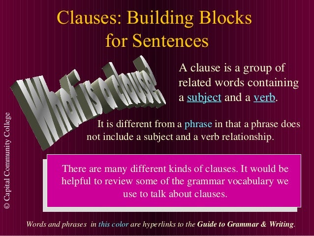©CapitalCommunityCollege Clauses: Building Blocks for Sentences A clause is a group of related words containing a subject ...