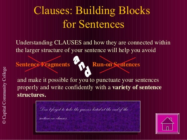 ©CapitalCommunityCollege Clauses: Building Blocks for Sentences Understanding CLAUSES and how they are connected within th...
