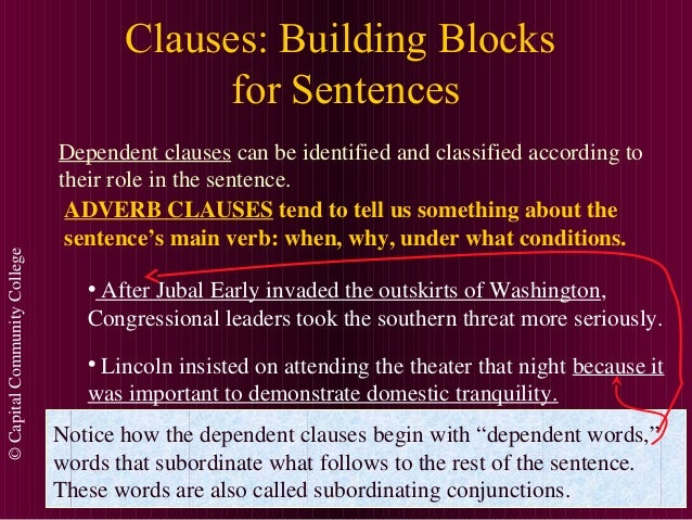 ©CapitalCommunityCollege Clauses: Building Blocks for Sentences Dependent clauses can be identified and classified accordi...