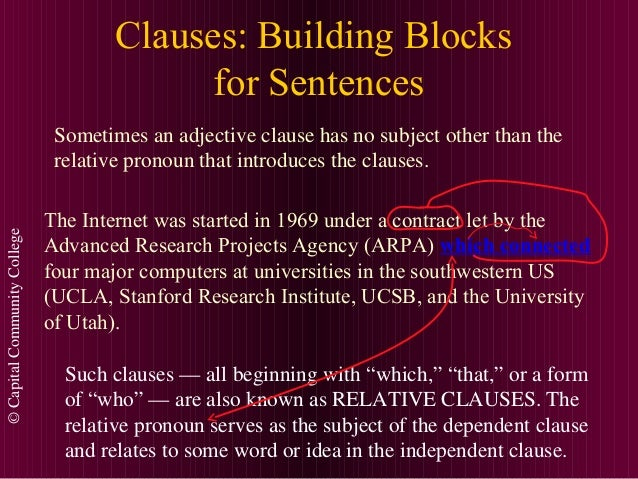 ©CapitalCommunityCollege Clauses: Building Blocks for Sentences Sometimes an adjective clause has no subject other than th...