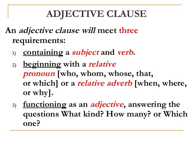 English Clauses – Adjective Clause Worksheet