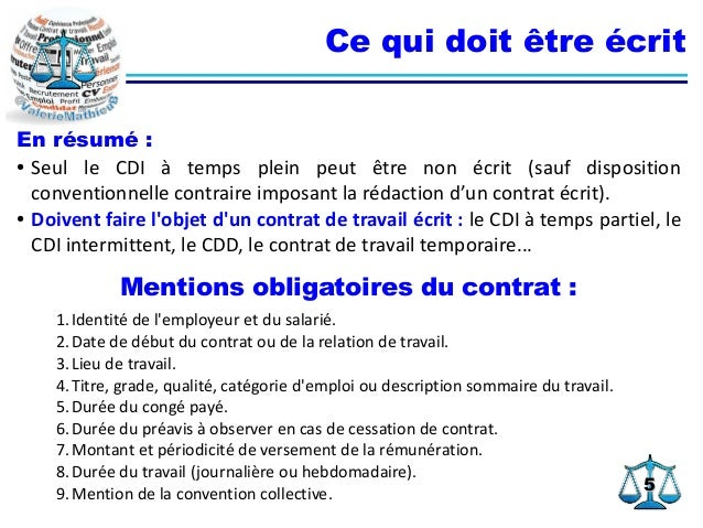 présentation d un contrat de travail Clauses du Contrat de Travail présentation d un contrat de travail