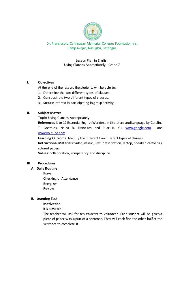 Semi Detailed Lesson Plan In ENGLISH Clauses
