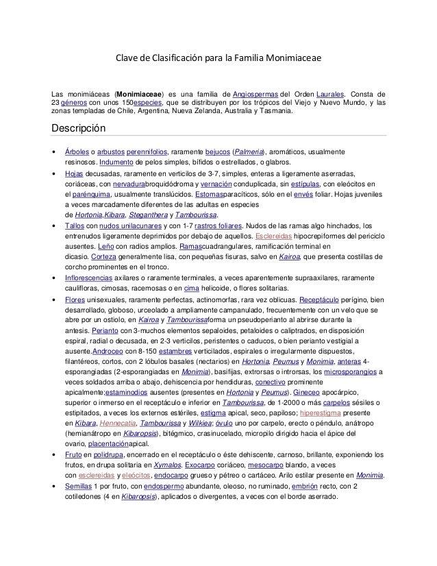 Clave de Clasificación para la Familia MonimiaceaeLas monimiáceas (Monimiaceae) es una familia de Angiospermas del Orden L...
