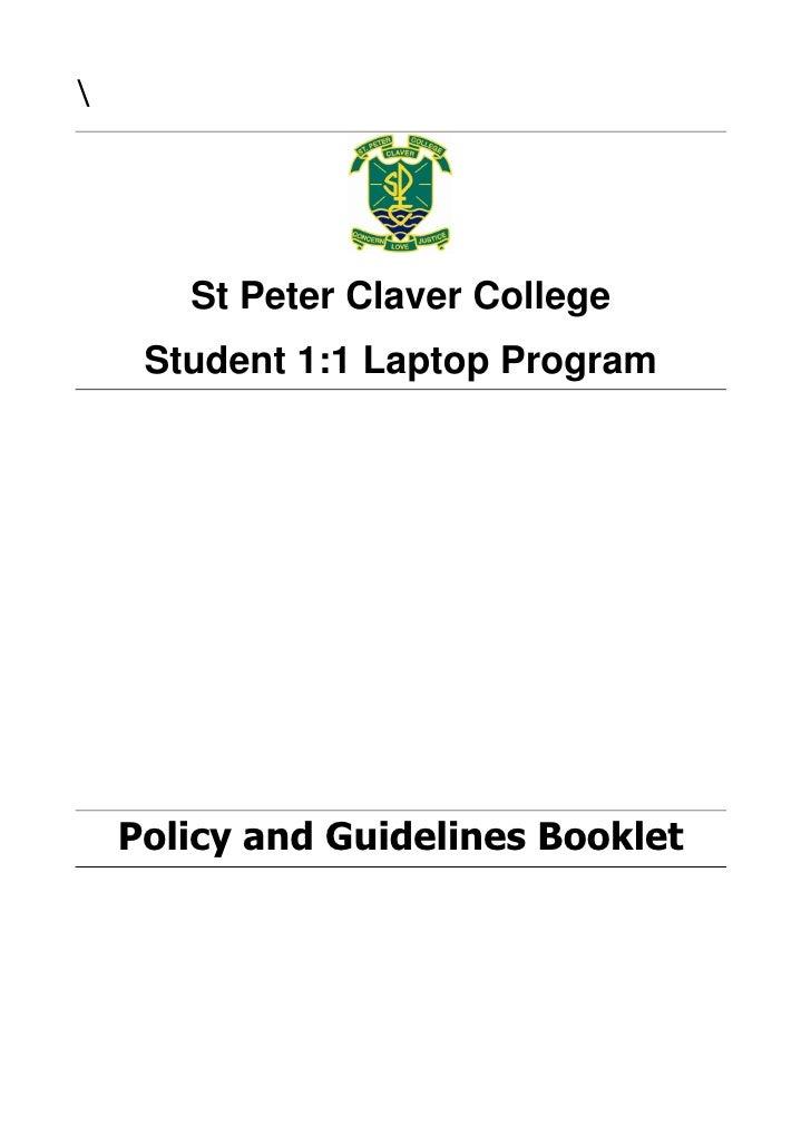 St Peter Claver College       Student 1:1 Laptop Program                                                  ...