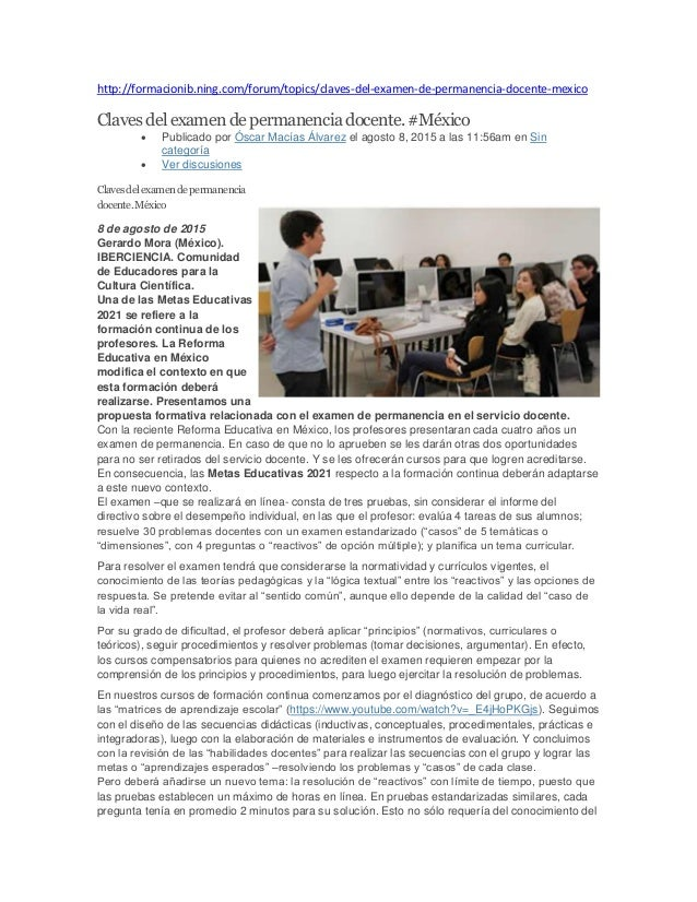 http://formacionib.ning.com/forum/topics/claves-del-examen-de-permanencia-docente-mexico Clavesdelexamendepermanenciadocen...