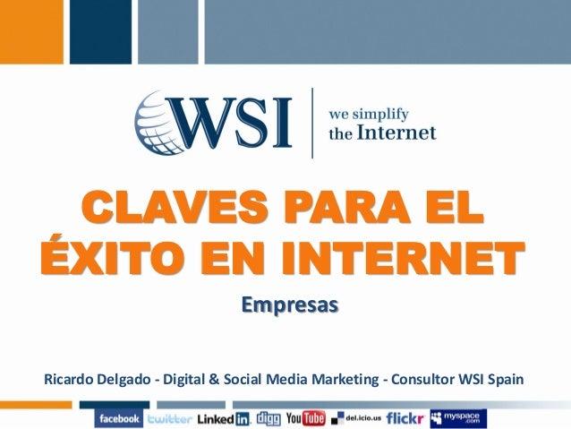 CLAVES PARA EL ÉXITO EN INTERNET Empresas Ricardo Delgado - Digital & Social Media Marketing - Consultor WSI Spain