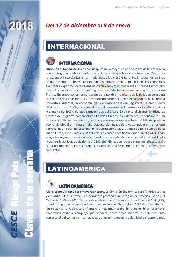 Dirección de Riesgo País y Gestión de Deuda Del 17 de diciembre al 9 de enero IIINNNTTTEEERRRNNNAAACCCIIIOOONNNAAALLL Nube...