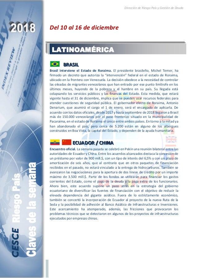 Dirección de Riesgo País y Gestión de Deuda Del 10 al 16 de diciembre BBBRRRAAASSSIIILLL Brasil interviene el Estado de Ro...