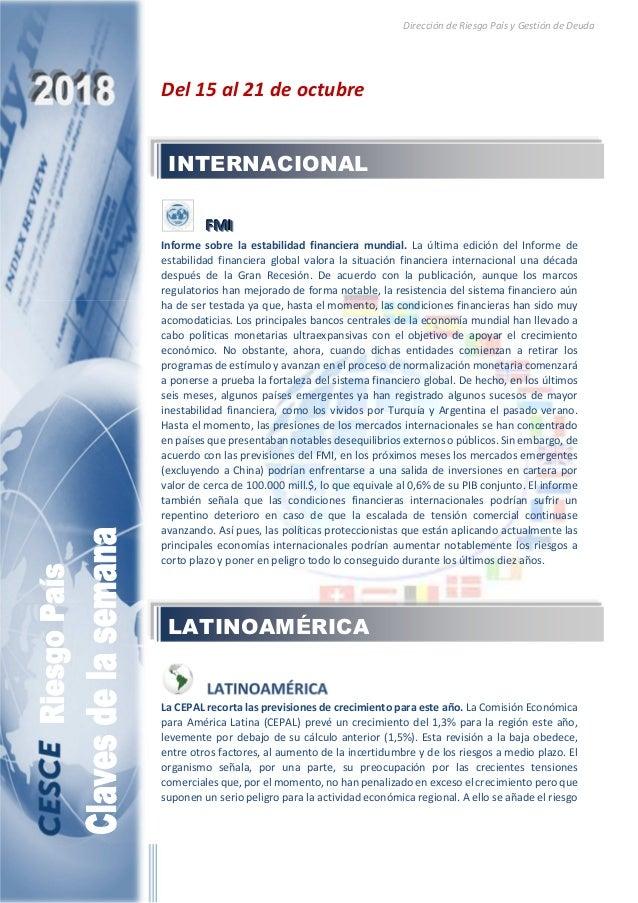 Dirección de Riesgo País y Gestión de Deuda Del 15 al 21 de octubre FFFMMMIII Informe sobre la estabilidad financiera mund...