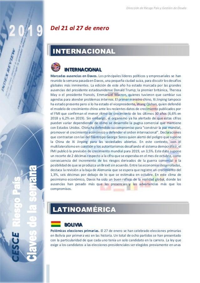 Dirección de Riesgo País y Gestión de Deuda Del 21 al 27 de enero IIINNNTTTEEERRRNNNAAACCCIIIOOONNNAAALLL Marcadas ausenci...