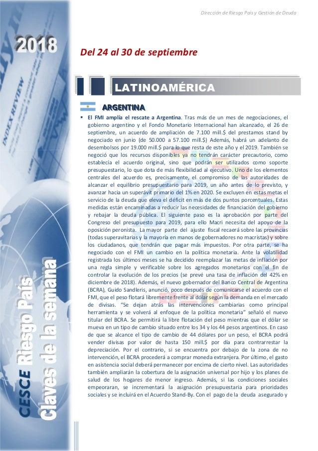 Dirección de Riesgo País y Gestión de Deuda Del 24 al 30 de septiembre AAARRRGGGEEENNNTTTIIINNNAAA El FMI amplía el rescat...