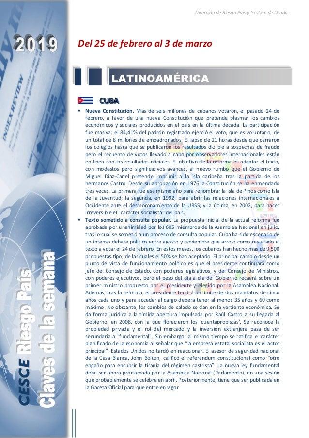 Dirección de Riesgo País y Gestión de Deuda Del 25 de febrero al 3 de marzo CCCUUUBBBAAA  Nueva Constitución. Más de seis...