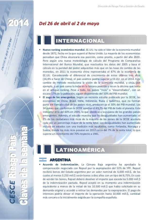 Dirección de Riesgo País y Gestión de Deuda Del 26 de abril al 2 de mayo Nuevo ranking económico mundial. EE.UU. ha sido e...