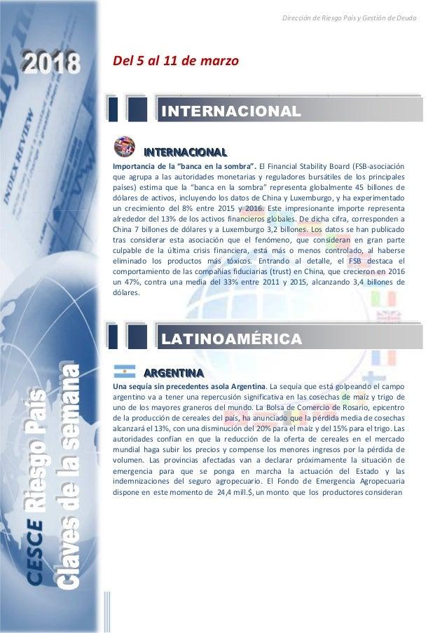 Dirección de Riesgo País y Gestión de Deuda Del 5 al 11 de marzo IIINNNTTTEEERRRNNNAAACCCIIIOOONNNAAALLL Importancia de la...