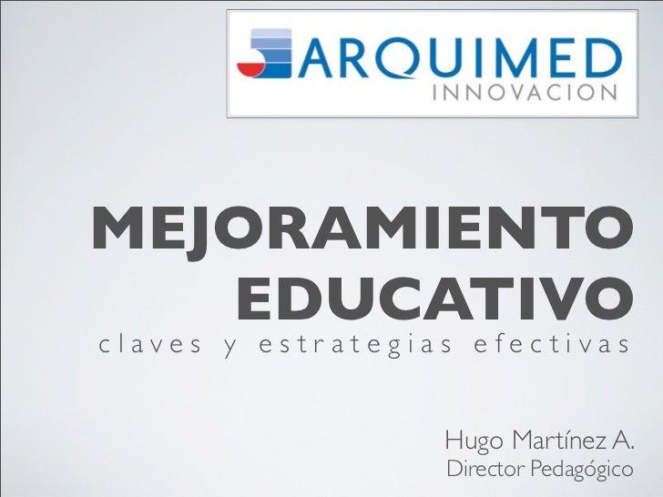 MEJORAMIENTO   EDUCATIVOclaves y estrategias efectivas                   Hugo Martínez A.                   Director Pedag...