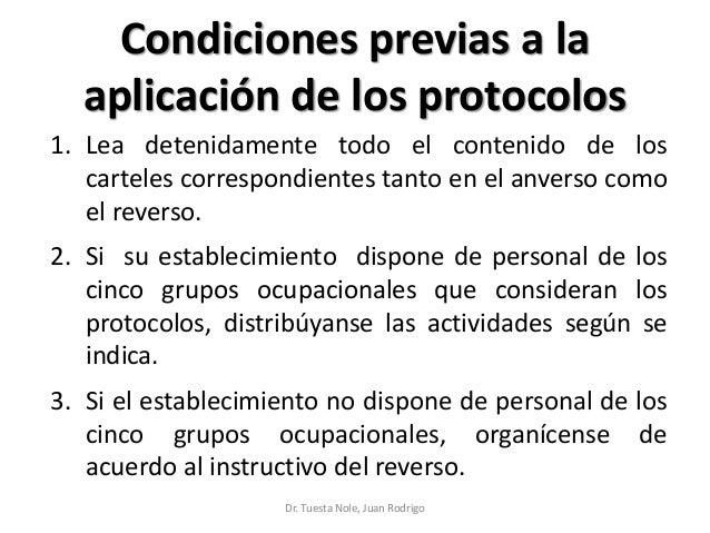 Condiciones previas a la aplicación de los protocolos 1. Lea detenidamente todo el contenido de los carteles correspondien...