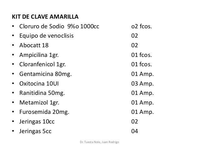 KIT DE CLAVE AMARILLA • Cloruro de Sodio 9%o 1000cc o2 fcos. • Equipo de venoclisis 02 • Abocatt 18 02 • Ampicilina 1gr. 0...