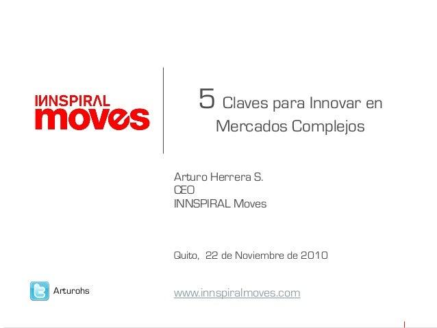 5 Claves para Innovar en Mercados Complejos Arturo Herrera S. CEO INNSPIRAL Moves Quito, 22 de Noviembre de 2010 www.innsp...