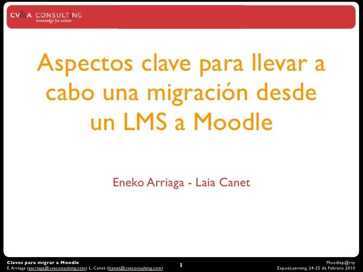 Aspectos clave para llevar a               cabo una migración desde                   un LMS a Moodle                     ...