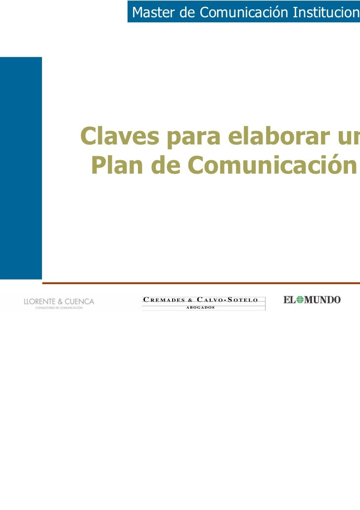 Master de Comunicación Institucional y PolíticaClaves para elaborar un Plan de Comunicación