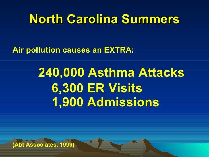 North Carolina Summers <ul><li>Air pollution causes an EXTRA: </li></ul><ul><li>240,000 Asthma Attacks </li></ul><ul><li>6...