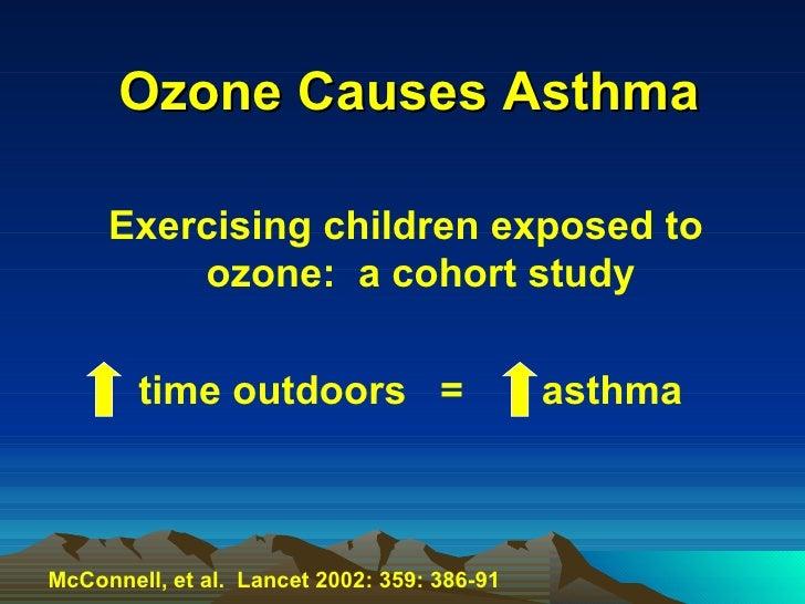 Ozone Causes Asthma <ul><li>Exercising children exposed to ozone:  a cohort study </li></ul><ul><li>  time outdoors  =  as...