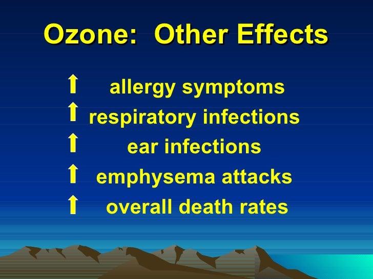 Ozone:  Other Effects <ul><li>allergy symptoms </li></ul><ul><li>respiratory infections  </li></ul><ul><li>ear infections ...