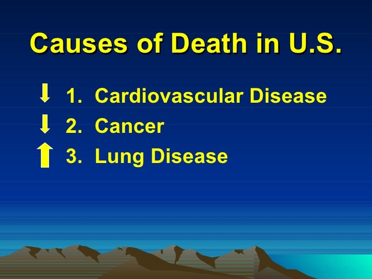 Causes of Death in U.S. <ul><li>1.  Cardiovascular Disease  </li></ul><ul><li>2.  Cancer </li></ul><ul><li>3.  Lung Diseas...
