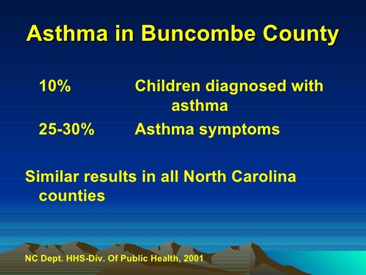 Asthma in Buncombe County <ul><li>10%  Children diagnosed with  asthma </li></ul><ul><li>25-30% Asthma symptoms </li></ul>...