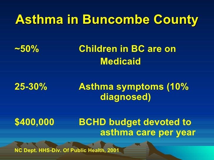 Asthma in Buncombe County <ul><li>~50% Children in BC are on </li></ul><ul><li>Medicaid  </li></ul><ul><li>25-30% Asthma s...