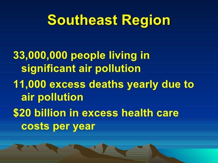 Southeast Region <ul><li>33,000,000 people living in significant air pollution </li></ul><ul><li>11,000 excess deaths year...