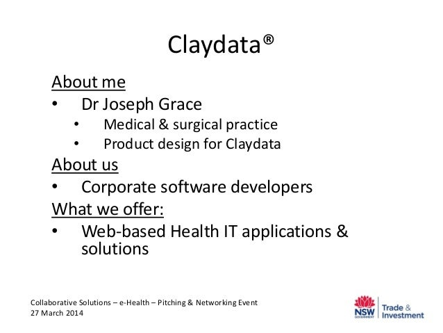 Claydata® About me • Dr Joseph Grace • Medical & surgical practice • Product design for Claydata About us • Corporate soft...