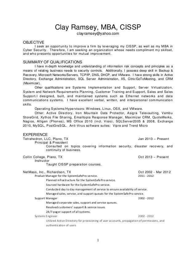 clr resume
