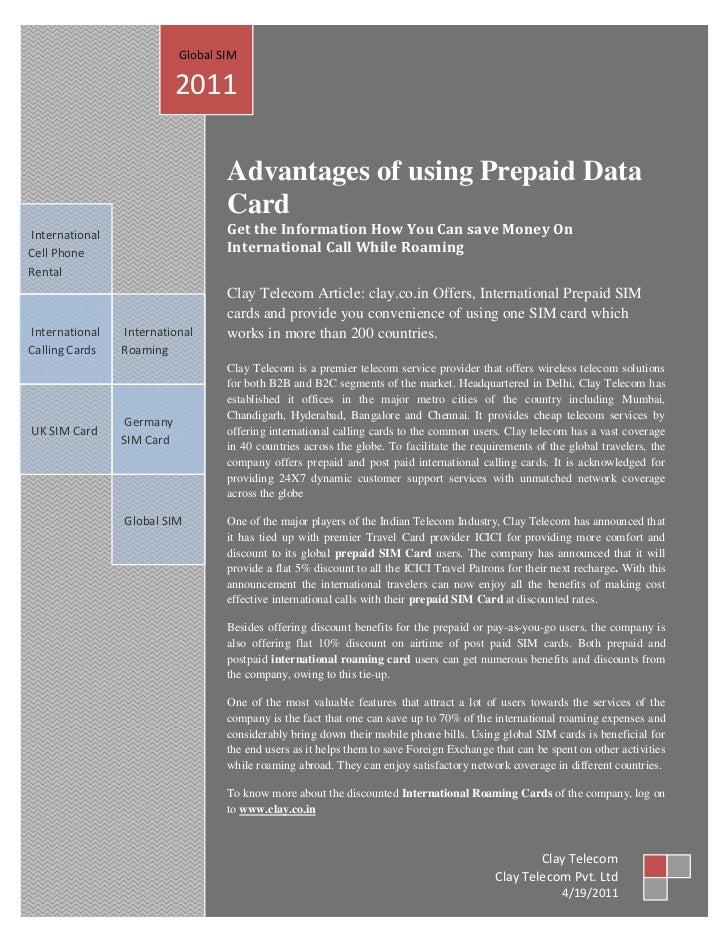 Global SIM                           2011                                   Advantages of using Prepaid Data              ...