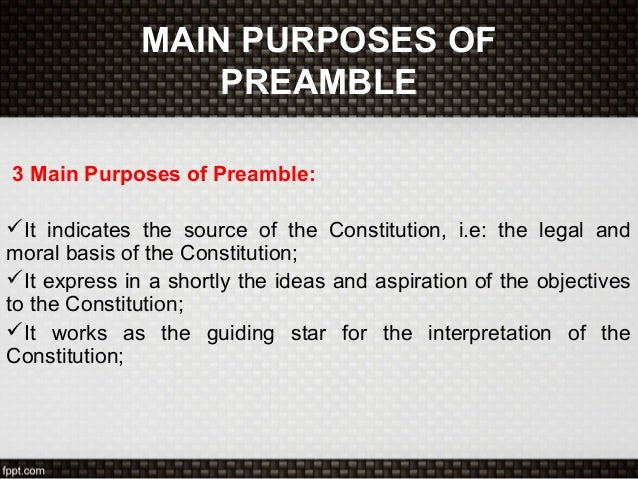 purpose of the preamble Get an answer for 'in the declaration of independence what is the purpose of the first paragraph' and find homework help for other history questions at enotes.