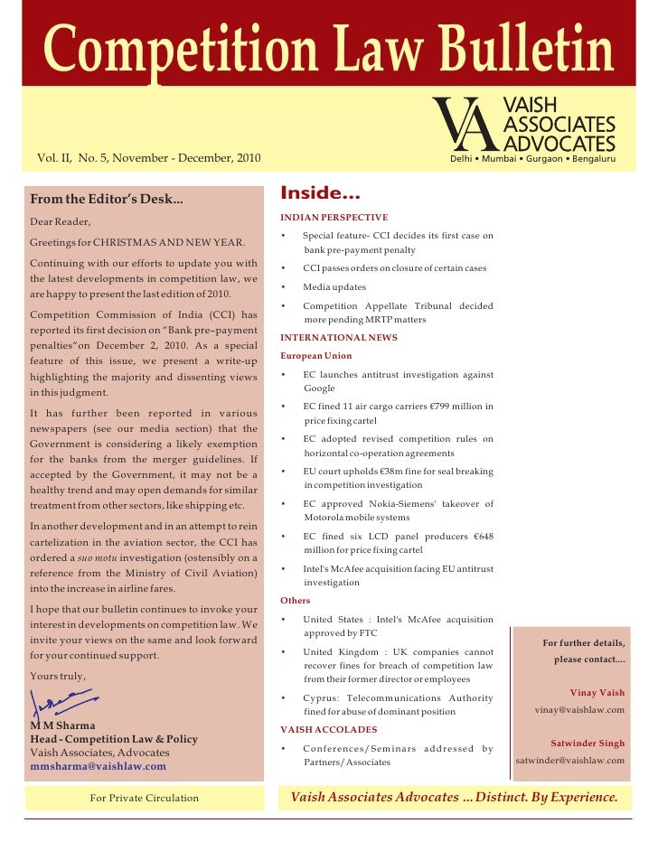 Competition Law Bulletin Vol. II, No. 5, November - December, 2010                                                    Delh...