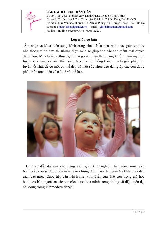 CÂU LẠC BỘ TUỔI THẦN TIÊN Cơ sở 1 :SN 24G , Nghách 269 Thịnh Quang , Ngõ 67 Thái Thịnh Cơ sở 2 : Trường cấp 2 Thái Thịnh ,...