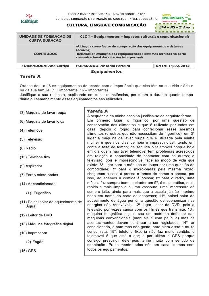 ESCOLA BÁSICA INTEGRADA QUINTA DO CONDE – 11/12                       CURSO DE EDUCAÇÃO E FORMAÇÃO DE ADULTOS – NÍVEL SECU...