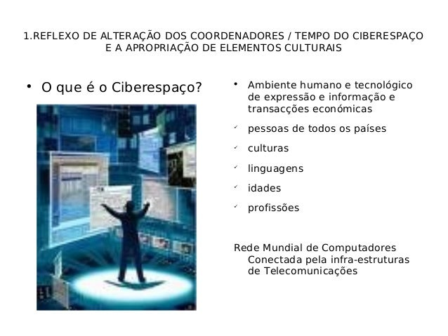 1.REFLEXO DE ALTERAÇÃO DOS COORDENADORES / TEMPO DO CIBERESPAÇO E A APROPRIAÇÃO DE ELEMENTOS CULTURAIS  O que é o Ciberes...