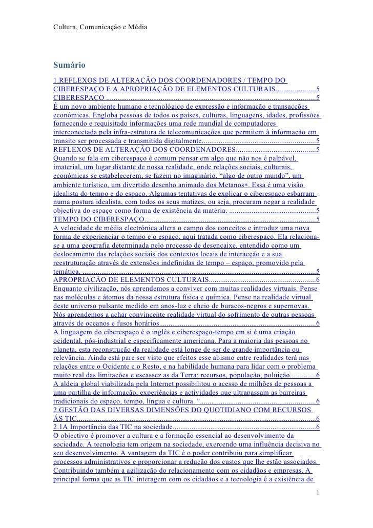 Cultura, Comunicação e Média     Sumário 1.REFLEXOS DE ALTERAÇÃO DOS COORDENADORES / TEMPO DO CIBERESPAÇO E A APROPRIAÇÃO ...