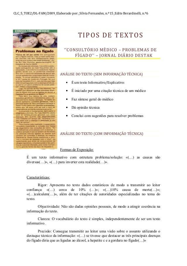 CLC_5_TOE2/DL-FAM/2009_Elaborado por:_Sílvia Fernandes, n.º15_Edite Berardinelli, n.º6 TIPOS DE TEXTOS ''CONSULTÓRIO MÉDIC...