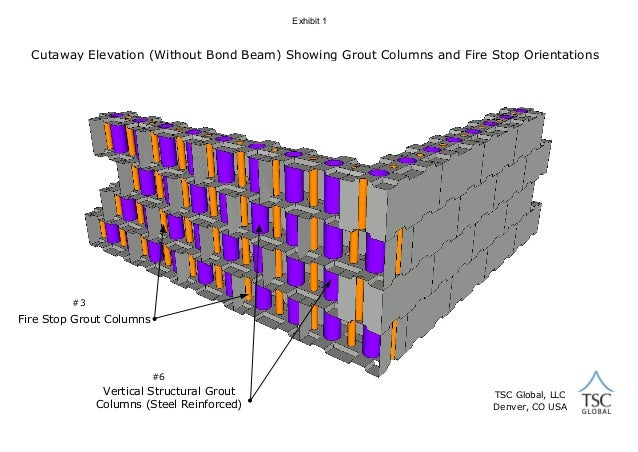 Clc block wall assembly not for construction use exhibit 1 cutaway elevation without bond beam showing grout columns and fire stop orientations ccuart Gallery