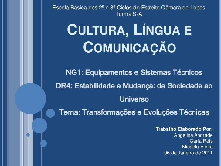 Escola Básica dos 2º e 3º Ciclos do Estreito Câmara de Lobos<br />Turma S-A<br />Cultura, Língua e Comunicação<br />NG1: E...