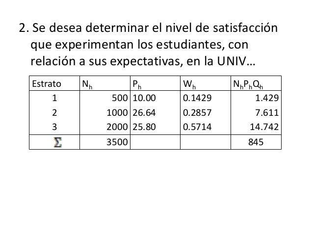 2. Se desea determinar el nivel de satisfacción que experimentan los estudiantes, con relación a sus expectativas, en la U...