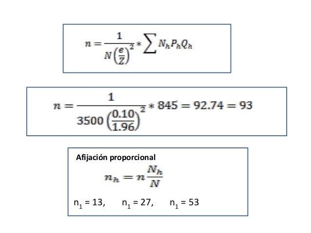Afijación proporcional n1 = 13, n1 = 27, n1 = 53